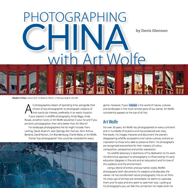 Photographing China with Art Wolfe